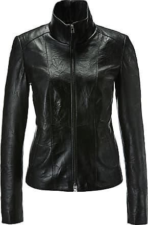 Madeleine Lederjacke mit Stehkragen und Reißverschluss in schwarz MADELEINE Gr 34 für Damen. Polyester. Lederreinigung