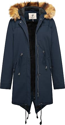 WenVen Womens Mid Length Hooded Sherpa Lined Parka Jacket Dovetail Design Navy Medium