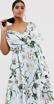 Asos Curve ASOS DESIGN Curve - Midi-Ballkleid mit abfallenden Schultern, Bindegürtel und Blumenmuster-Mehrfarbig