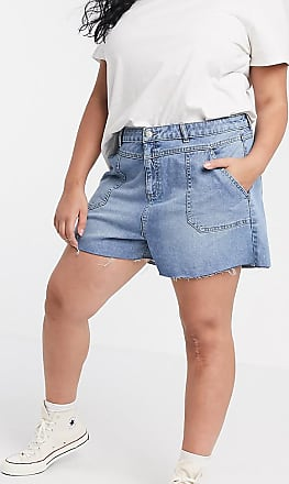 Urban Bliss denim shorts with frayed hem-Blue
