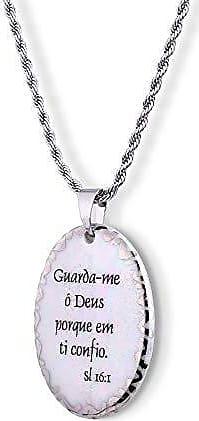 Design Medalhas Pingente Medalha versículo borda ouro branco Guarda-me ó Deus porque em Ti confio ouro branco