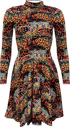 Insanity Traditional African Wild Animal Printed Velvet High Neck Dress (M)