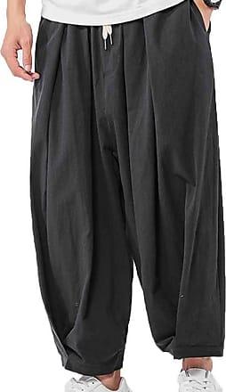 LanFengeu Mens Casual Harem Pants Wide Leg Trousers Autumn Male Oversized Pants Baggy Beach Trousers Black