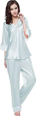 LilySilk Womens Silk Pyjamas Set Laced V Neck Long 22 Momme Pure Silk Light Sky Blue Size 14/Extra M