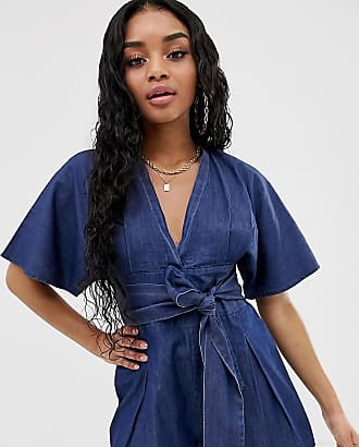 eb1f38fdea12 Boohoo Petite exclusive denim playsuit with tie waist in blue