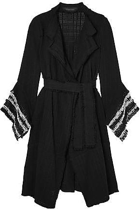 Roland Mouret Roland Mouret Woman Millington Fringed Woven Cotton Coat Black Size 12