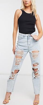 Missguided Blaue Mom-Jeans im Used-Look