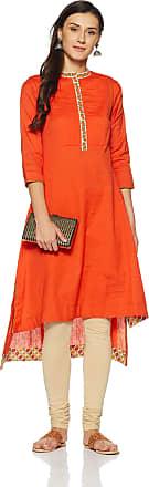 Biba Womens A-line Kurta (MNMART in T14218_Orange_34)