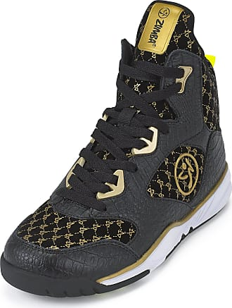 Zumba Energy Boom High Top Athletic Shoes Dance Training Workout Women Shoes, Black Gold, 2.5 UK