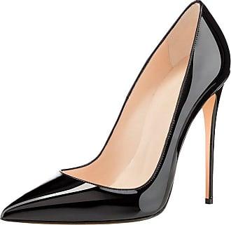 EDEFS Womens Pointed Toe 120mm High Heel Pumps Comfortable Ladies Shoes Black EU38