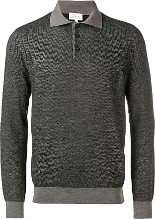 Brioni chevron pattern polo shirt - Cinza