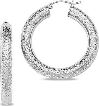 d03f0691508d Zales 4.5 x 35.0mm Diamond-Cut Hoop Earrings in Sterling Silver