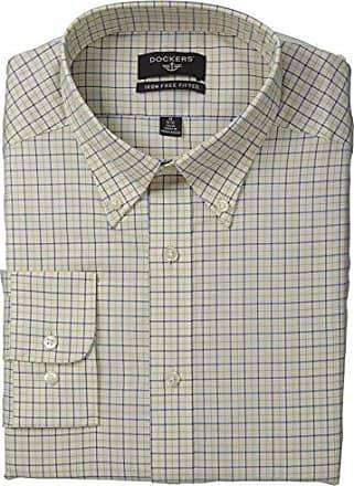Dockers Mens Non-Iron Fit Mini Check Dress Shirt, Yellow, 16x32/33