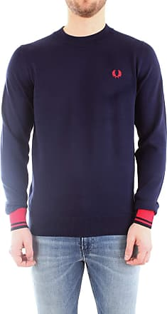 Fred Perry Abstract Tipped Crew Neck Jumper, Pullover - M Blue