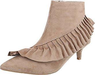 69f890ec28cf77 Ital-Design Klassische Stiefeletten Damen-Schuhe Klassische Stiefeletten  Kleiner Trichter Moderne Reißverschluss Stiefeletten Beige