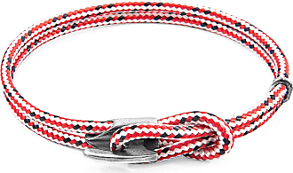 Anchor & Crew Red Dash Padstow Silver and Rope Bracelet - 21cm (most popular)