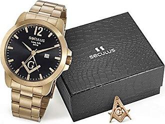 Seculus Kit Relógio Seculus Masculino Dourado Com Broche 28973gpskda1k1