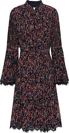Mikael Aghal Mikael Aghal Woman Lace-trimmed Pintucked Floral-print Georgette Dress Midnight Blue Size 10