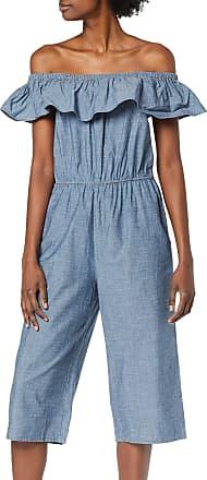 Vero Moda Womens VMEMILIA Ruffle Drop Chambray Jumpsuit, Blue (Dark Blue Denim Dark Blue Denim), 12 (Size: M)