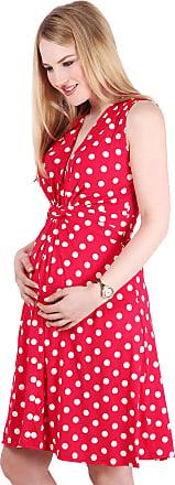 Krisp 6147-REDWHT-16: Polka Dot Print Twist Knot Front V Neck Mini Swing Dress Party Summer