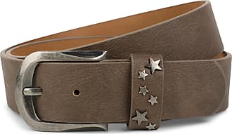 styleBREAKER Belt with star studs on the closure, studded belt, can be shortened, unisex 03010082, size:85cm, color:Brown