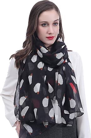 Lina & Lily Hedgehog Print Womens Large Scarf Lightweight (Black)