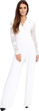 Momo & Ayat Fashions Ladies Plus Size Lace V-Neck Plazzo Jumpsuit UK Size 16-24 (UK 22 (EUR 50), Off-White)