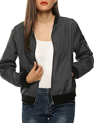 Zeagoo Womens Classic Quilted Jacket Short Padded Bomber Jacket Coat (Small, Gray)