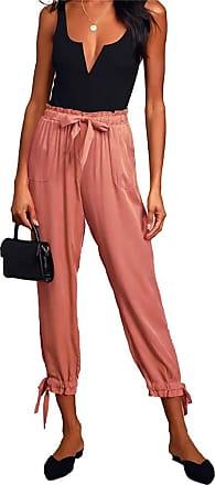 QIYUN.Z Women Harem Pants Wide Leg Pants Female Trousers Casual Spring Summer Loose Pants Orange M
