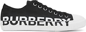 Burberry Tênis bicolor com estampa de logo - Preto