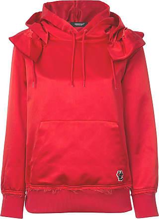 Undercover frilled shoulder satin hoodie - Vermelho