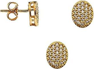 Prado Joias Conjunto Ponto de Luz Oval Com Zircônias Em Ouro 18k