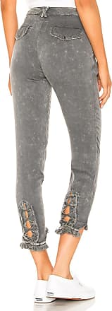 Chaser Lace Up Pant with Frayed Edge in Charcoal