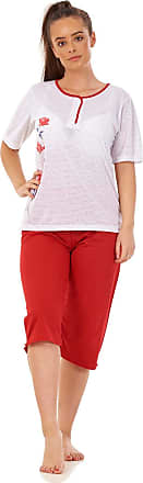 JD Williams Ladies Cropped Pyjama Set Cotton Blend Floral Dot Printed V Neck Capri S to XXL Red
