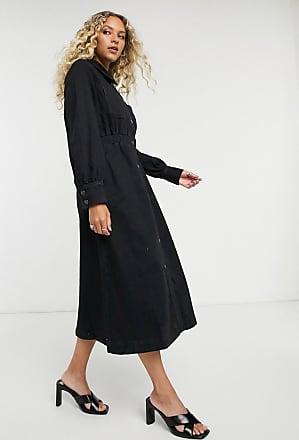 Selected Femme - Vestito camicia midi di jeans con vita elasticizzata nero