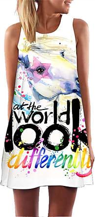 Ocean Plus Womens Sleeveless Vintage Boho Beach Dress Sundress Tank Tops Beach Dress Round Neck Short A Line Shirt Dress Blouse Dress (XXL (UK 14-16), Ink Horse)