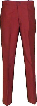 Relco Mens Classic Retro Mod Sta Press Trousers (32, Tonic Burgundy)