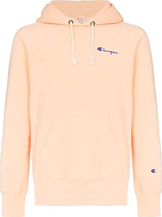 Champion orange reverse weave logo embroidered cotton hoodie