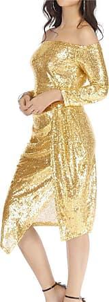 NPRADLA Dresses for Women Off Shoulder Sheath Sequin Sexy Club Party Dress Midi Slash Neck Solid Long Sleeve Dress Tops Blouses Gold