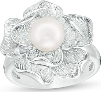 Zales 7.0mm Cultured Freshwater Pearl Flower Ring in Sterling Silver - Size 7