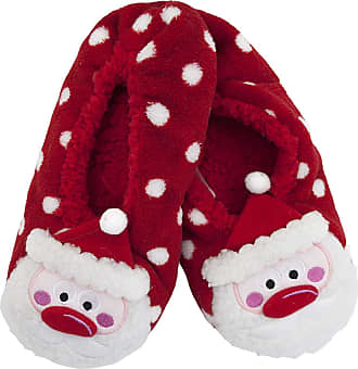 Foxbury Ladies Sherpa Lined Plush Christmas Slippers With Grips SK457 Santa M/L