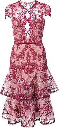 Marchesa embroidered lace midi dress - Pink