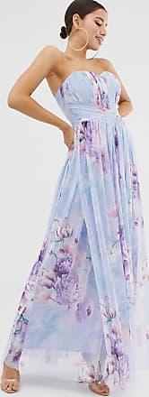 Lipsy Vestito lungo a fascia in rete con stampa a fiori blu-Multicolore