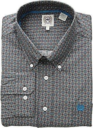 Cinch Mens Classic Fit Long Sleeve Button One Open Pocket Print Shirt, Grey/Teal XS