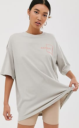 Monki T-shirt oversize lunga beige