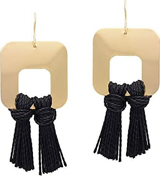 Tinna Jewelry Brinco Dourado Franja (Preto)