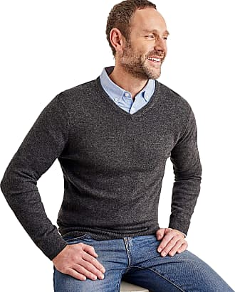 WoolOvers Mens Cashmere and Merino V Neck Jumper Charcoal, M