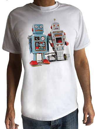 Irony Tokyo T-Shirt Tin Robot Tshirt Godzilla Top Fashionable Toy Funny Japanese Swag C9-10 (XLarge) White