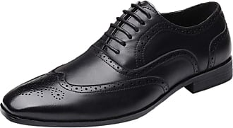 Yvelands Men Leather Shoes Business Pointed Toe Lace Up Flat Oxford Leather Loafer Work Shoes Black