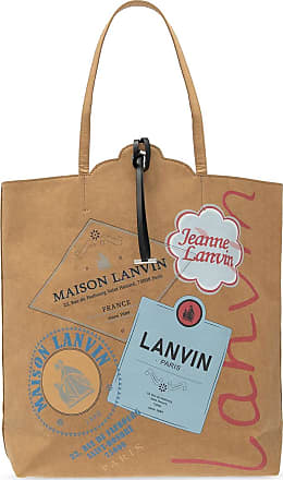 Lanvin Kraft Cabas Shoulder Bag With Logo Womens Beige